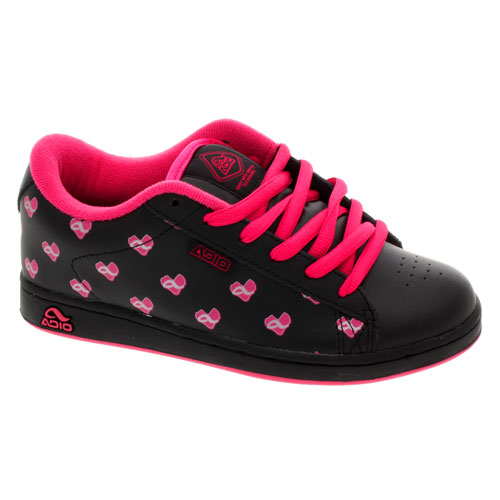 adio s eugene black pink hearts womens skate shoes